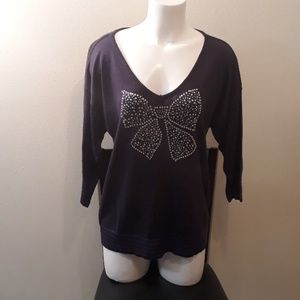 Tommy Girl NEW Rhinestone Bow Navy Sweater XL